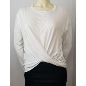 Gaze Twist Front Long Sleeves Ivory Top, S NWT